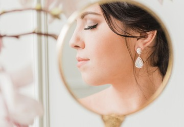 Beautiful Bride Looking At Her Reflection