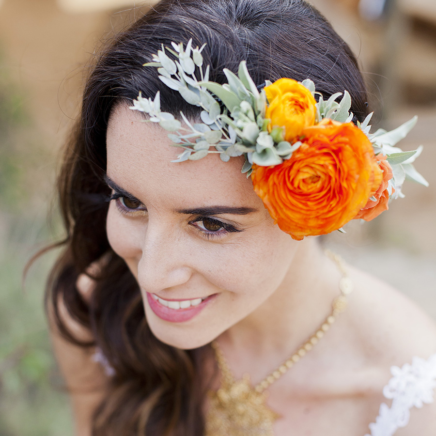 A flower crown that makes a statement.